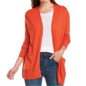 Madewell Open Front Pocketed Slub Cardigan Orange